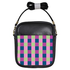 Pink Teal Lime Orchid Pattern Girls Sling Bags
