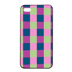 Pink Teal Lime Orchid Pattern Apple iPhone 4/4s Seamless Case (Black)
