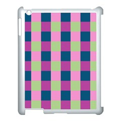 Pink Teal Lime Orchid Pattern Apple iPad 3/4 Case (White)