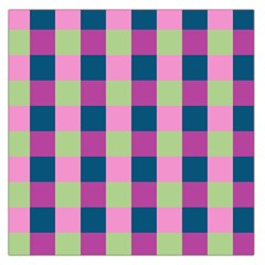 Pink Teal Lime Orchid Pattern Large Satin Scarf (Square)