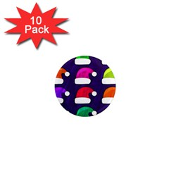 Santa Hats Santa Claus Holidays 1  Mini Magnet (10 pack)