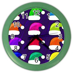 Santa Hats Santa Claus Holidays Color Wall Clocks