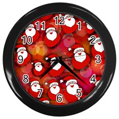 Seamless Santa Tile Wall Clocks (Black)