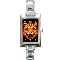 Tiger Rectangle Italian Charm Watch