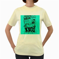 Typography Illustration Chaos Women s Yellow T-Shirt