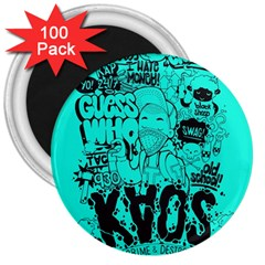 Typography Illustration Chaos 3  Magnets (100 pack)