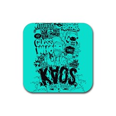 Typography Illustration Chaos Rubber Coaster (Square)