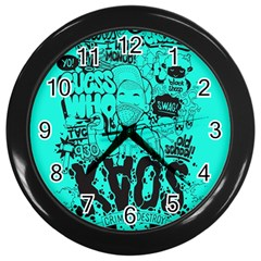 Typography Illustration Chaos Wall Clocks (Black)