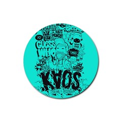 Typography Illustration Chaos Rubber Round Coaster (4 pack)
