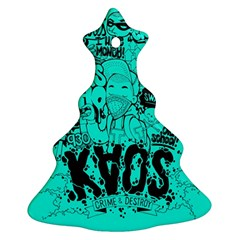 Typography Illustration Chaos Christmas Tree Ornament (Two Sides)