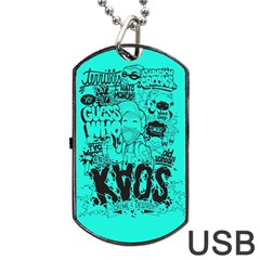 Typography Illustration Chaos Dog Tag USB Flash (One Side)