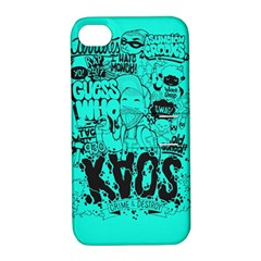 Typography Illustration Chaos Apple iPhone 4/4S Hardshell Case with Stand