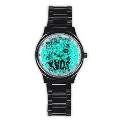 Typography Illustration Chaos Stainless Steel Round Watch