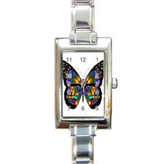 Abstract Animal Art Butterfly Rectangle Italian Charm Watch