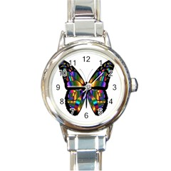 Abstract Animal Art Butterfly Round Italian Charm Watch