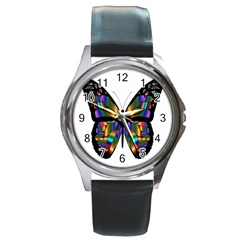 Abstract Animal Art Butterfly Round Metal Watch