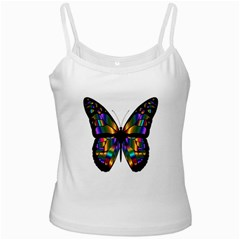 Abstract Animal Art Butterfly White Spaghetti Tank