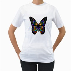 Abstract Animal Art Butterfly Women s T-Shirt (White) (Two Sided)