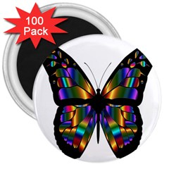 Abstract Animal Art Butterfly 3  Magnets (100 pack)