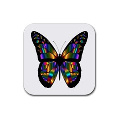 Abstract Animal Art Butterfly Rubber Coaster (Square)