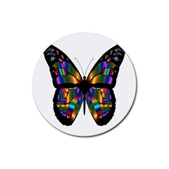 Abstract Animal Art Butterfly Rubber Round Coaster (4 pack)