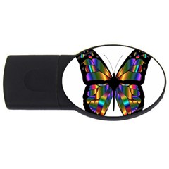 Abstract Animal Art Butterfly USB Flash Drive Oval (1 GB)