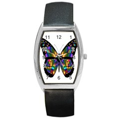 Abstract Animal Art Butterfly Barrel Style Metal Watch