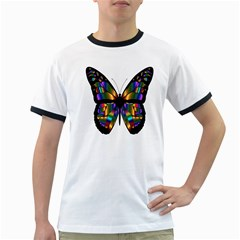 Abstract Animal Art Butterfly Ringer T-Shirts