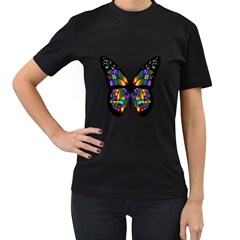 Abstract Animal Art Butterfly Women s T-Shirt (Black) (Two Sided)