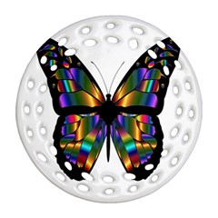 Abstract Animal Art Butterfly Ornament (Round Filigree)
