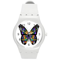 Abstract Animal Art Butterfly Round Plastic Sport Watch (M)