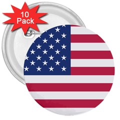 American Flag 3  Buttons (10 pack)