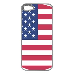 American Flag Apple iPhone 5 Case (Silver)