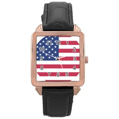 American Flag Rose Gold Leather Watch