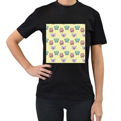 Animals Pastel Children Colorful Women s T-Shirt (Black) (Two Sided)