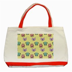 Animals Pastel Children Colorful Classic Tote Bag (Red)