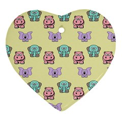 Animals Pastel Children Colorful Heart Ornament (Two Sides)