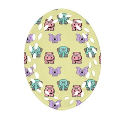Animals Pastel Children Colorful Oval Filigree Ornament (Two Sides)