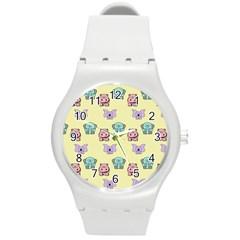 Animals Pastel Children Colorful Round Plastic Sport Watch (M)