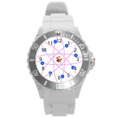 Atom Model Vector Clipart Round Plastic Sport Watch (L)