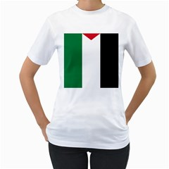 Palestine flag Women s T-Shirt (White) (Two Sided)