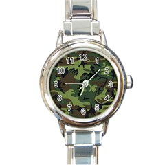 Camouflage Green Brown Black Round Italian Charm Watch