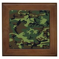 Camouflage Green Brown Black Framed Tiles