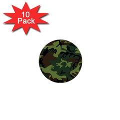 Camouflage Green Brown Black 1  Mini Buttons (10 pack)