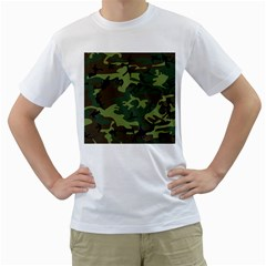 Camouflage Green Brown Black Men s T-Shirt (White) (Two Sided)