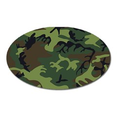Camouflage Green Brown Black Oval Magnet