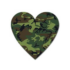 Camouflage Green Brown Black Heart Magnet