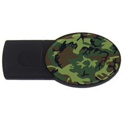 Camouflage Green Brown Black USB Flash Drive Oval (1 GB)