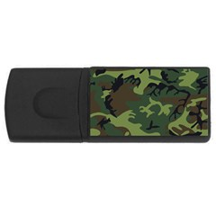 Camouflage Green Brown Black USB Flash Drive Rectangular (4 GB)
