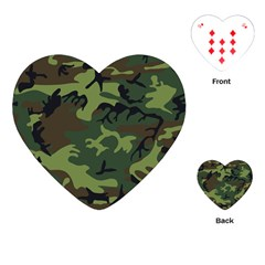 Camouflage Green Brown Black Playing Cards (Heart)
